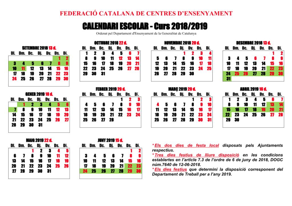calendaria lectiu 2018-2019