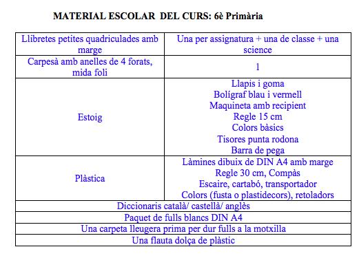 material escolar 6e primaria